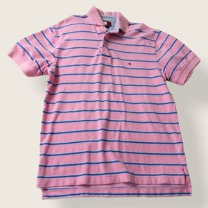 Tommy Hilfiger Striped Polo - Pink & Blue - Size Small